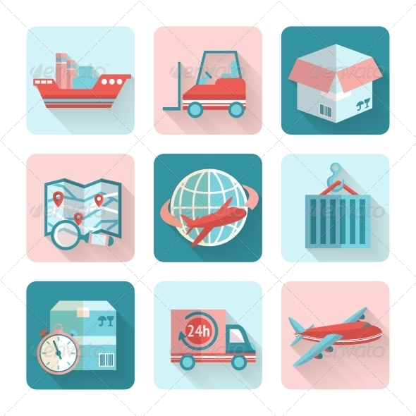 GraphicRiver Logistic Flat Icons 7675555