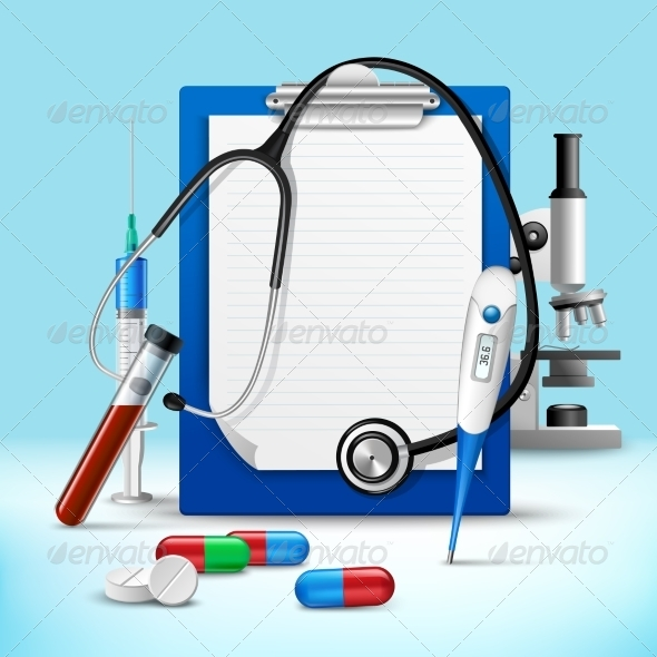 GraphicRiver Stethoscope and Notes Medical Frame 7675560