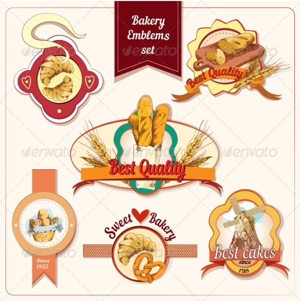 GraphicRiver Bakery Emblems Set 7675688