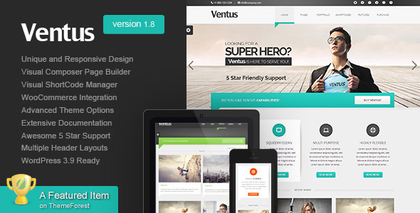 Ventus - Unique Business WordPress Theme - Business Corporate