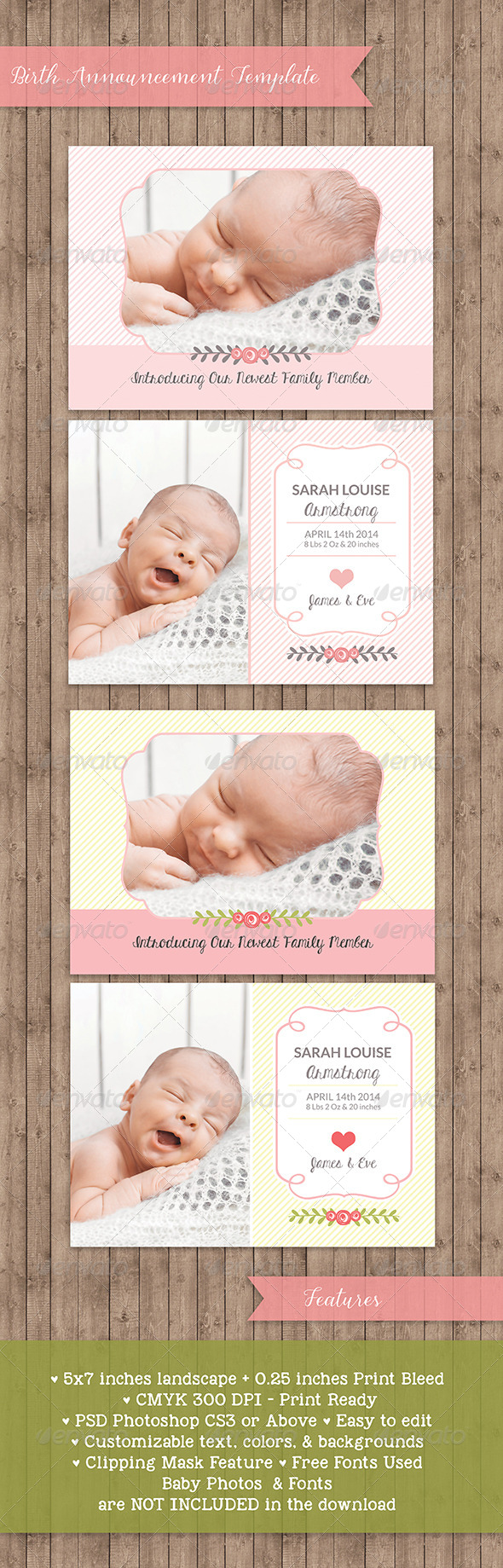 GraphicRiver Birth Announcement Template Baby Girl 7676456