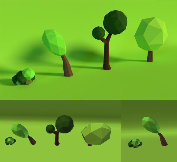 3DOcean LowPoly Trees Pack5 7676547