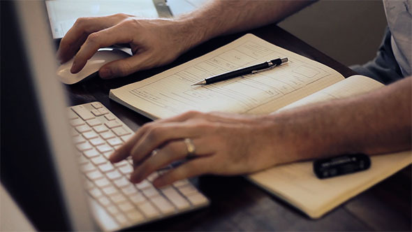 Work at Desk w Keyboard Mouse Tablet Sketch
