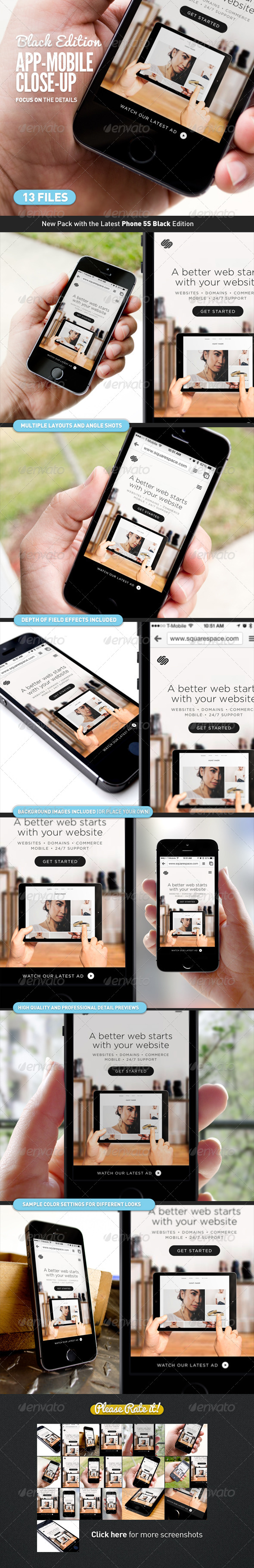 GraphicRiver App UI Close-Up Mock-Up 5s Black 7676603