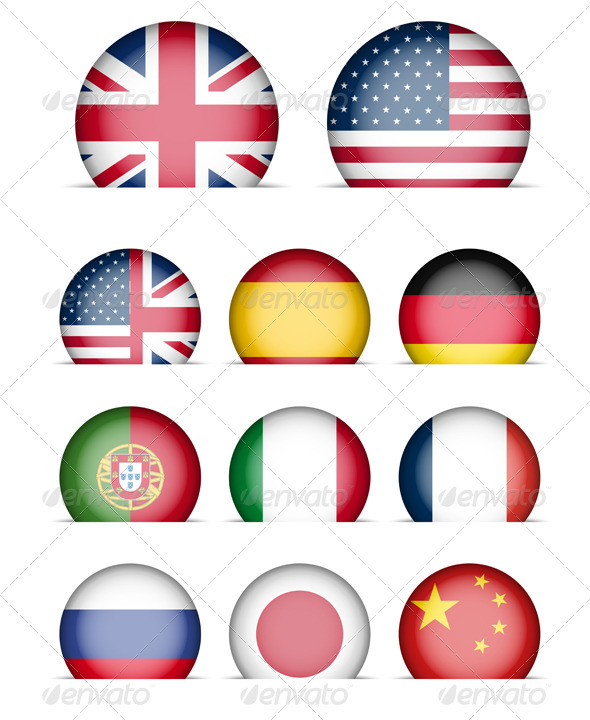 Language Buttons - Collection of Flags Icons