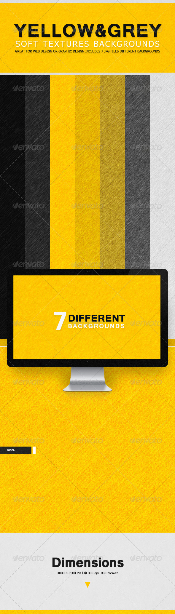 GraphicRiver Soft Textures Backgrounds Yellow & Grey 7677291