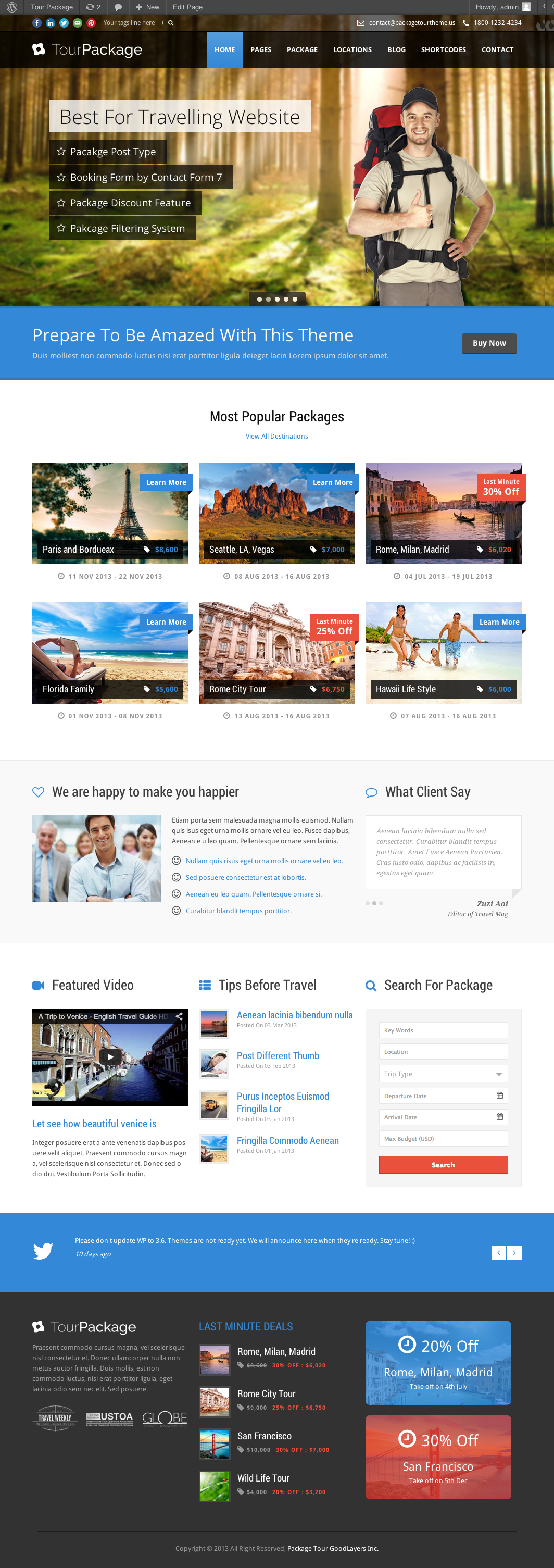 Tour Package - Wordpress Travel/Tour Theme - index page with color changed