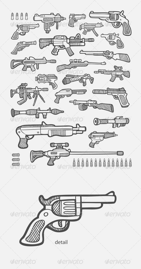 GraphicRiver Gun Icons Sketch 7678427