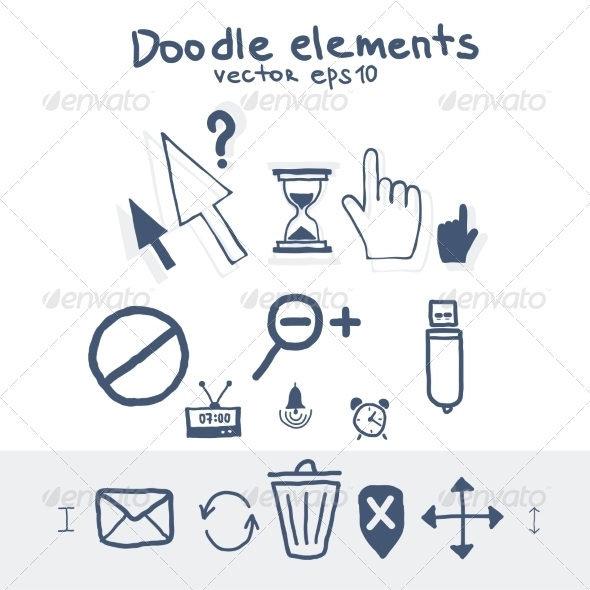 GraphicRiver Cursors Icons Mouse Hand Arrow Hourglass Clock 7678620