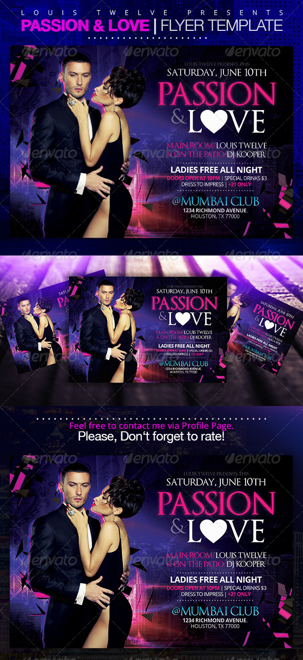 GraphicRiver Passion and Love Horizontal Flyer 7678809