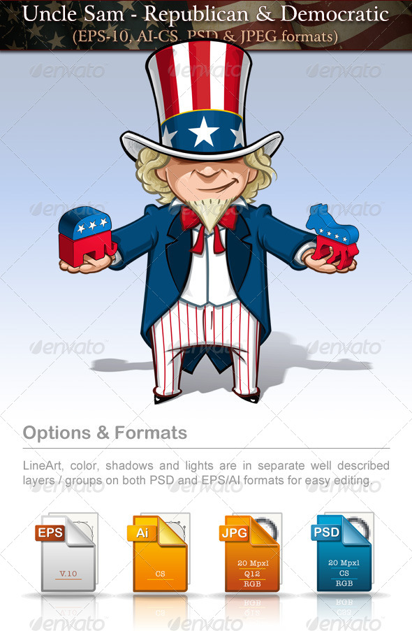 GraphicRiver Uncle Sam Republican & Democratic 7679851