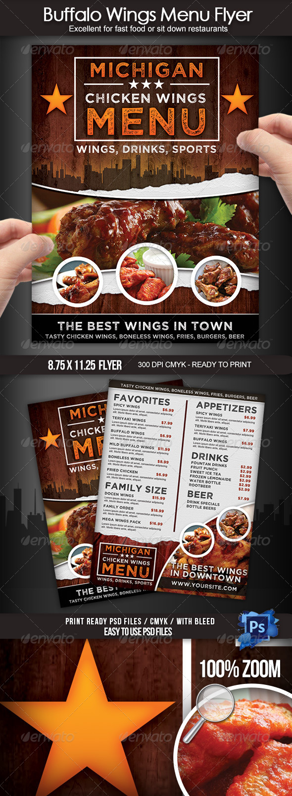 GraphicRiver Buffalo Wings Menu Flyer 7680142