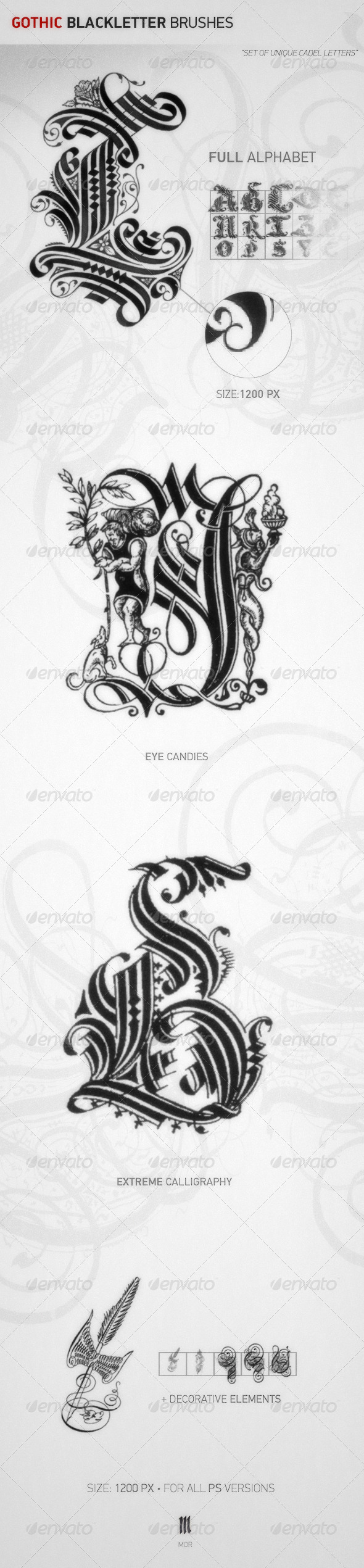 GraphicRiver Gothic Blackletter Brushes 7681527