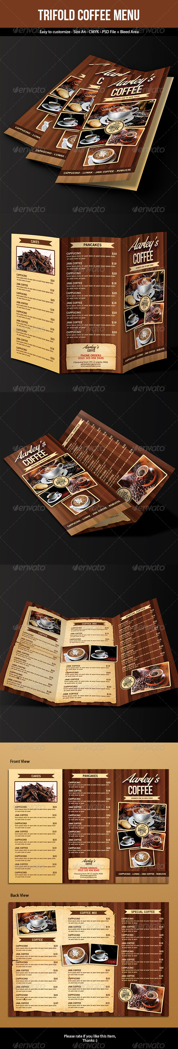 GraphicRiver Coffee Menu Trifold 7682316