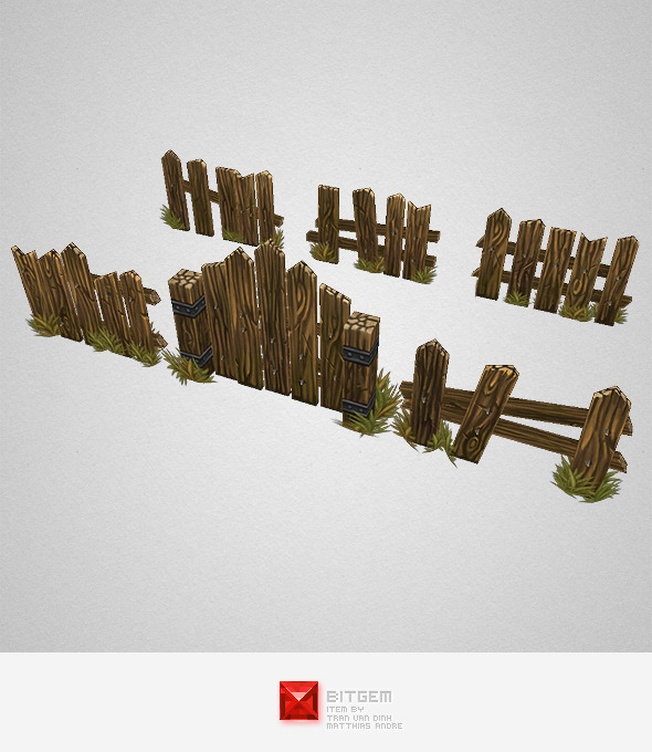 3DOcean Low Poly Fence Set 03 7682765