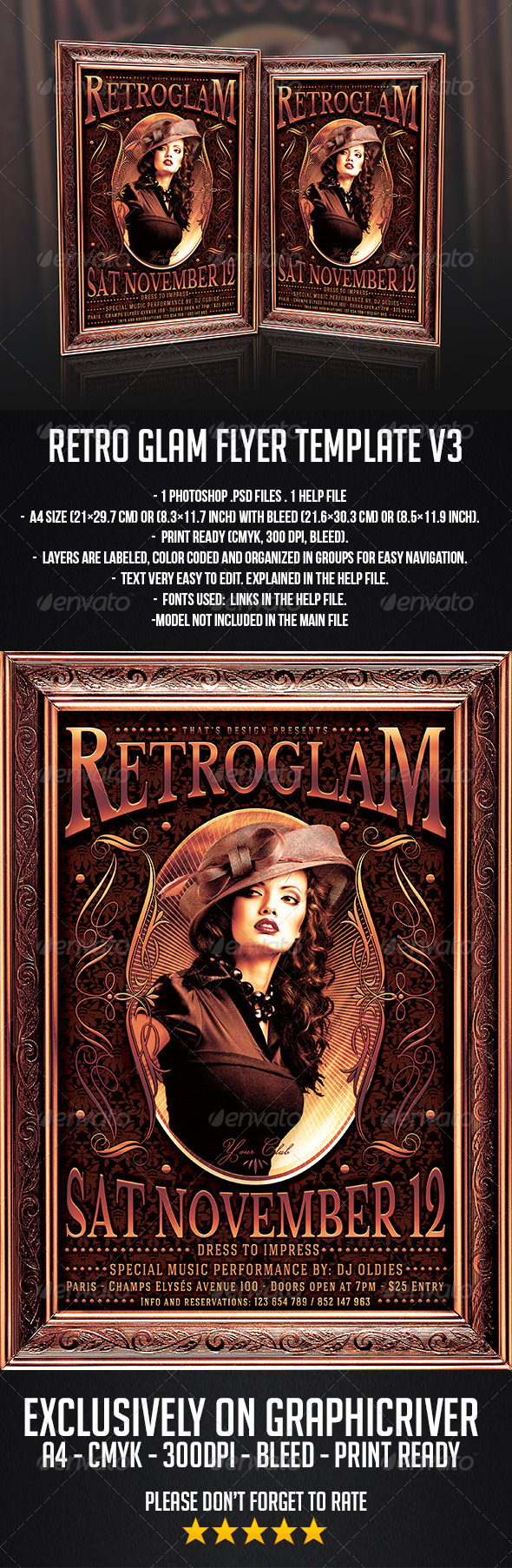 GraphicRiver Retro Glam Flyer Template V3 7683259