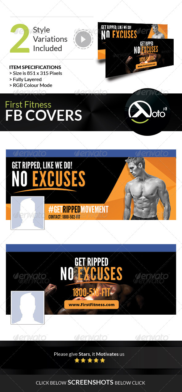 GraphicRiver First Fitness Body Weight Training FB Covers 7683342