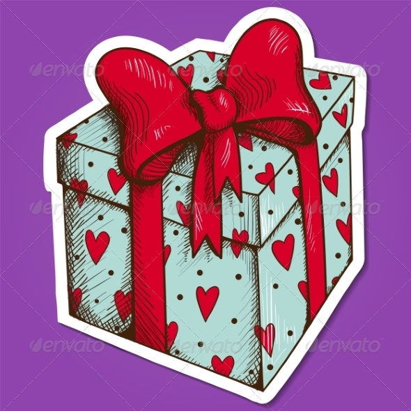 GraphicRiver Present Box with Hearts and Bow 7683541