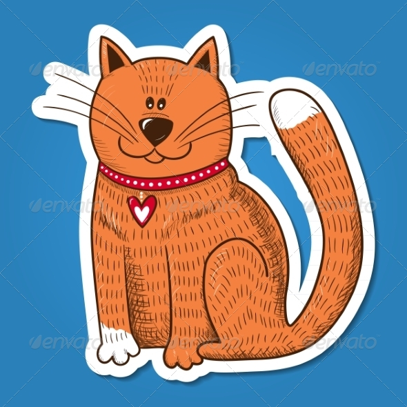 GraphicRiver Cat with Heart on Collar 7683757