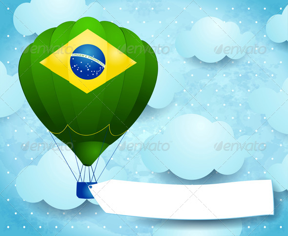 Hot Air Balloon with Brazilian Colors and Banner - Retro Technology