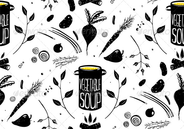 GraphicRiver Seamless Pattern Vegetable Soup in Black 7684079