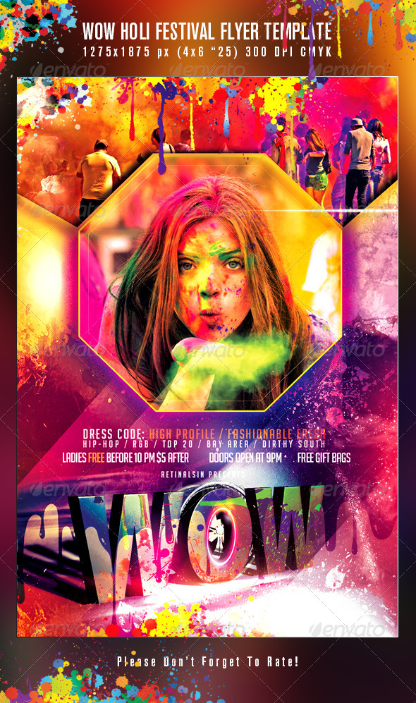 GraphicRiver WOW Holi Festival Flyer Template 7684667