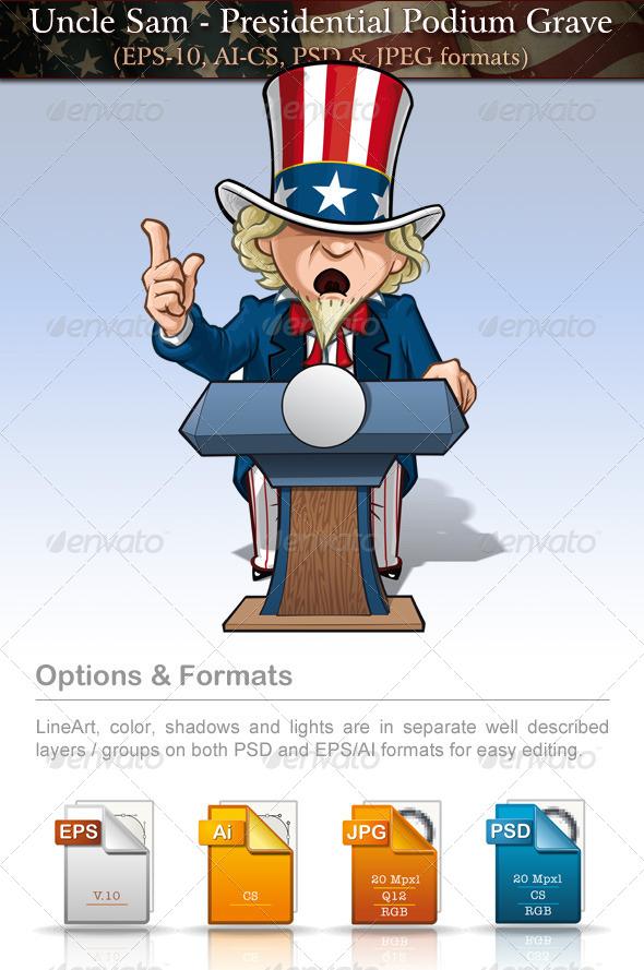 GraphicRiver Uncle Sam Presidential Podium Grave 7684760
