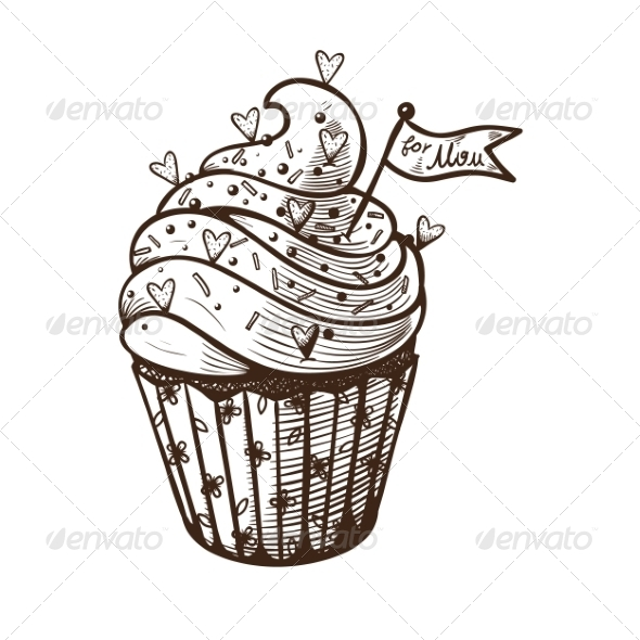 GraphicRiver Hand Drawn Cupcake 7684878