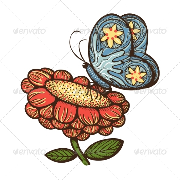 GraphicRiver Nature Spring Flower with Butterfly 7685318
