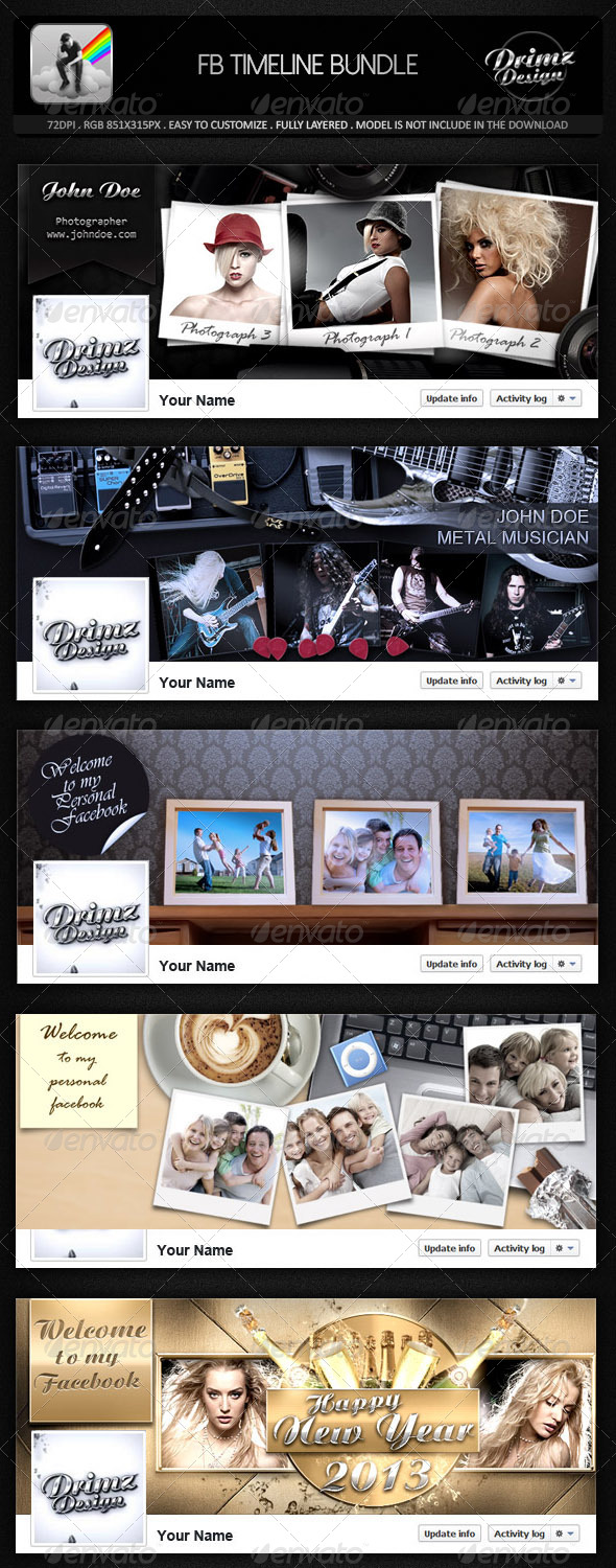 GraphicRiver 5 in 1 FB Timeline Bundle 7685914