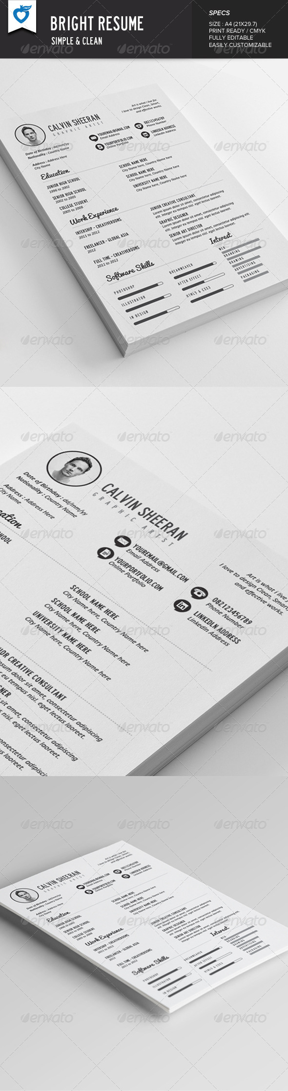 GraphicRiver Bright Resume 7686360