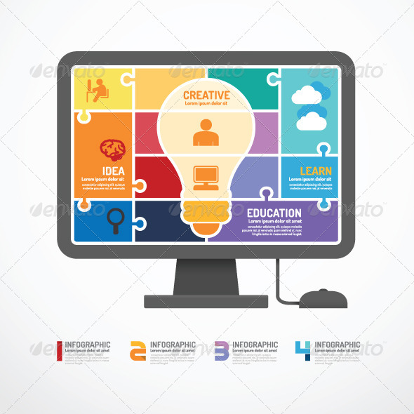 GraphicRiver Infographic Template Computer Jigsaw Concept 7185159
