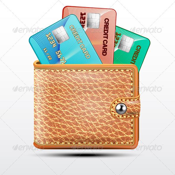 GraphicRiver Leather Wallet with Credit Cards 7686861