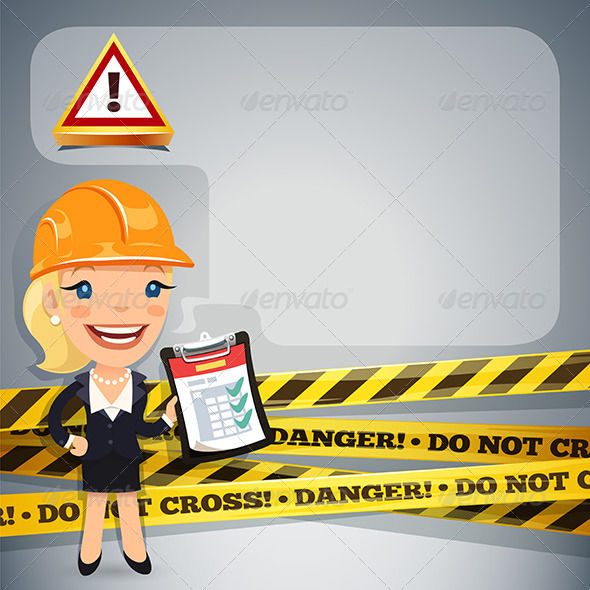 GraphicRiver Businesswoman with Danger Tapes 7668804