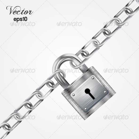 GraphicRiver Metal Lock with a Metal Chain 7687079