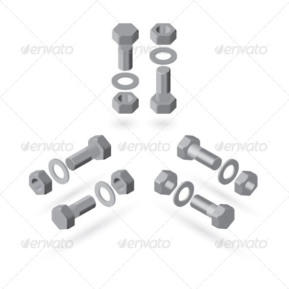 GraphicRiver Screw Bolt Nut and Washer 7687172