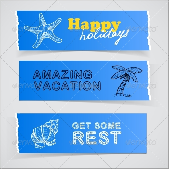 GraphicRiver Set of Blue Banners Vacation Sketch Illustrations 7687359