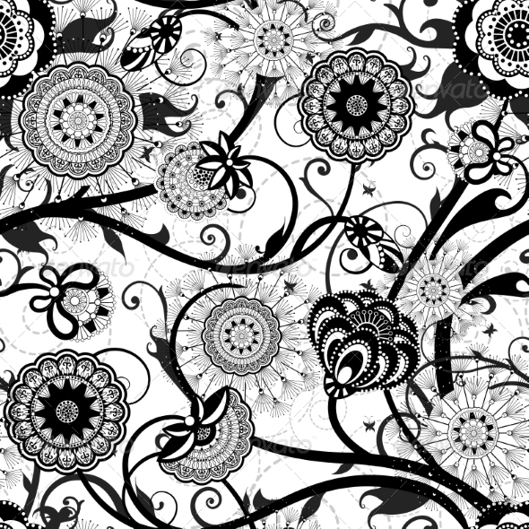 GraphicRiver Monochrome Floral Seamless Pattern 7687788