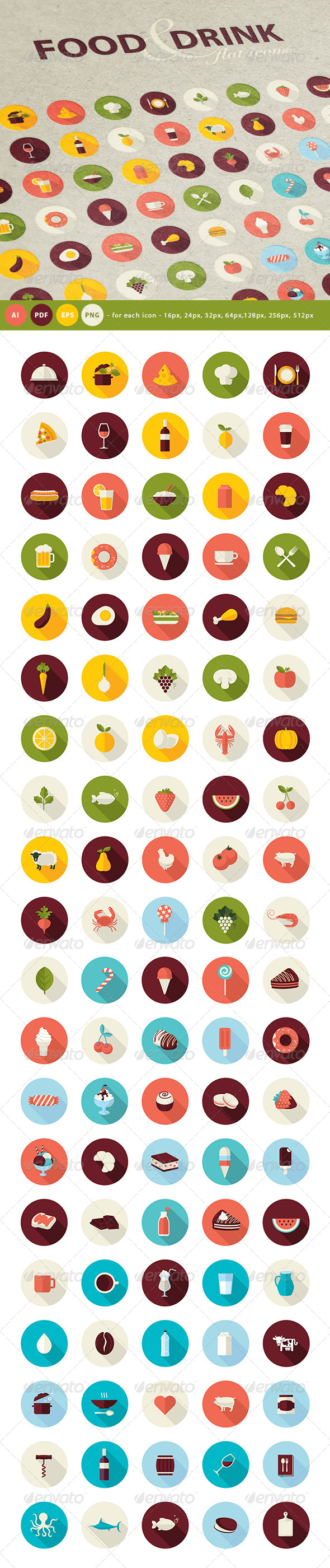 GraphicRiver Set of Flat Design Icons for Food and Drink 7687903