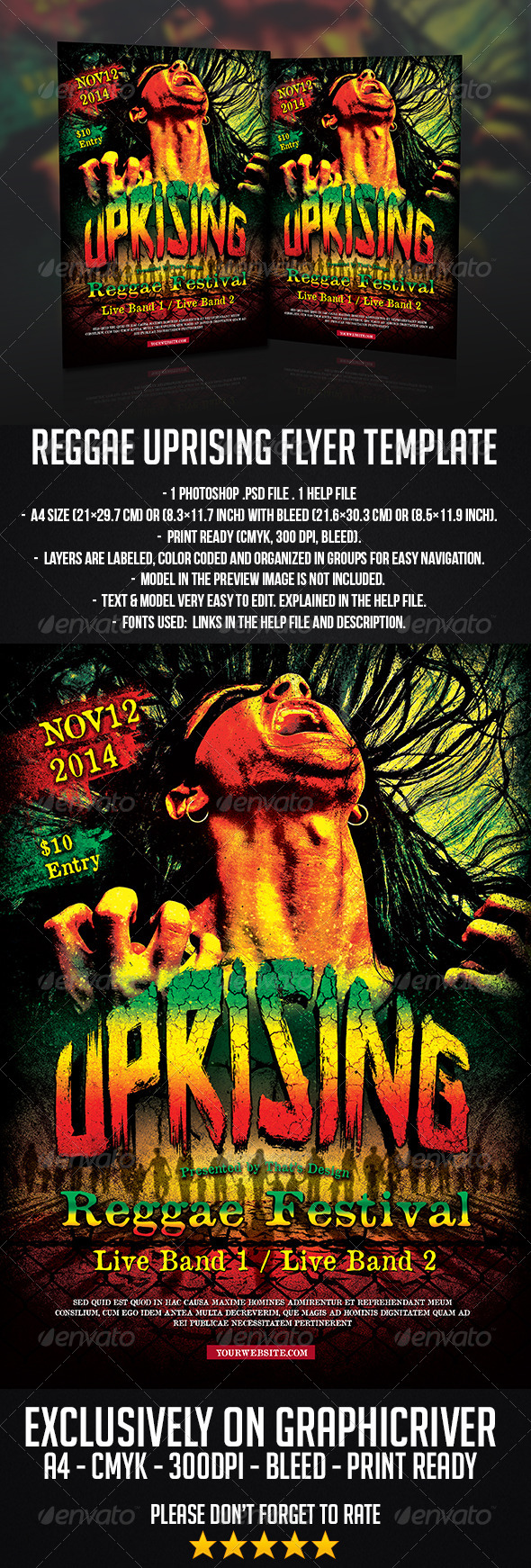 GraphicRiver Reggae Uprising Flyer Template 7665696