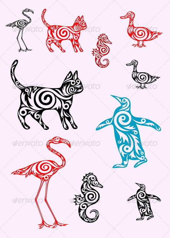GraphicRiver A set of animals ornate 7688026