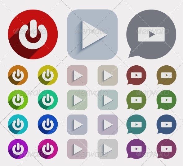 GraphicRiver Vector Flat Play Icons Set 7688075