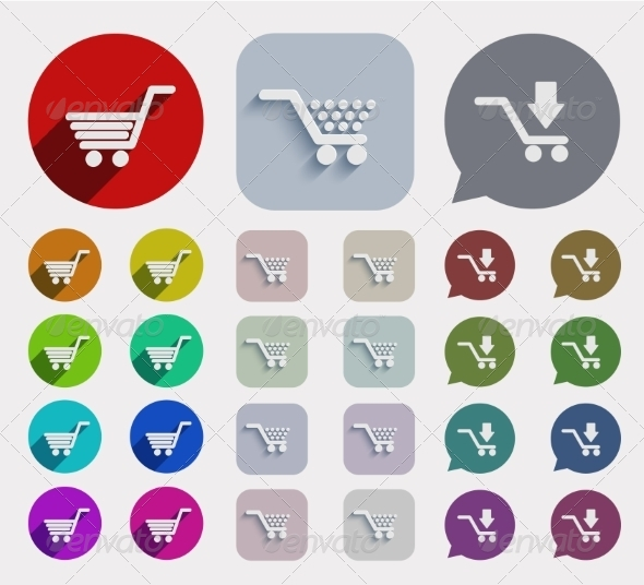 GraphicRiver Vector flat shopping icons set 7688082