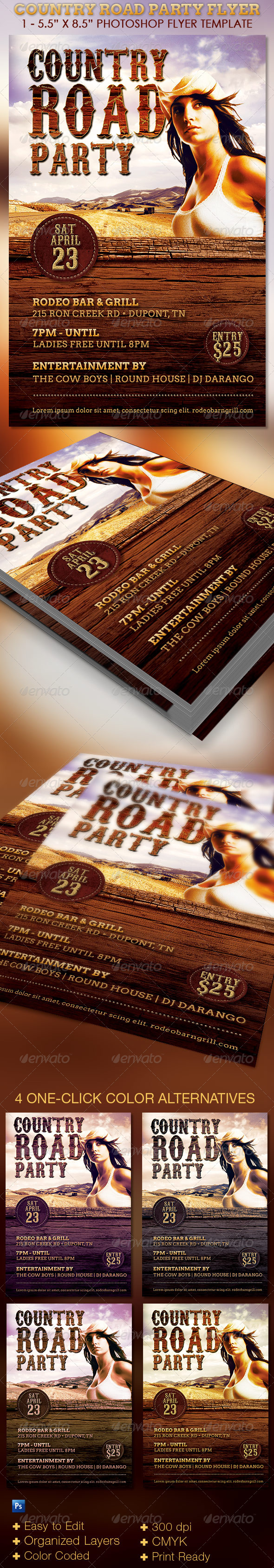 GraphicRiver Country Road Party Flyer Template 7670345