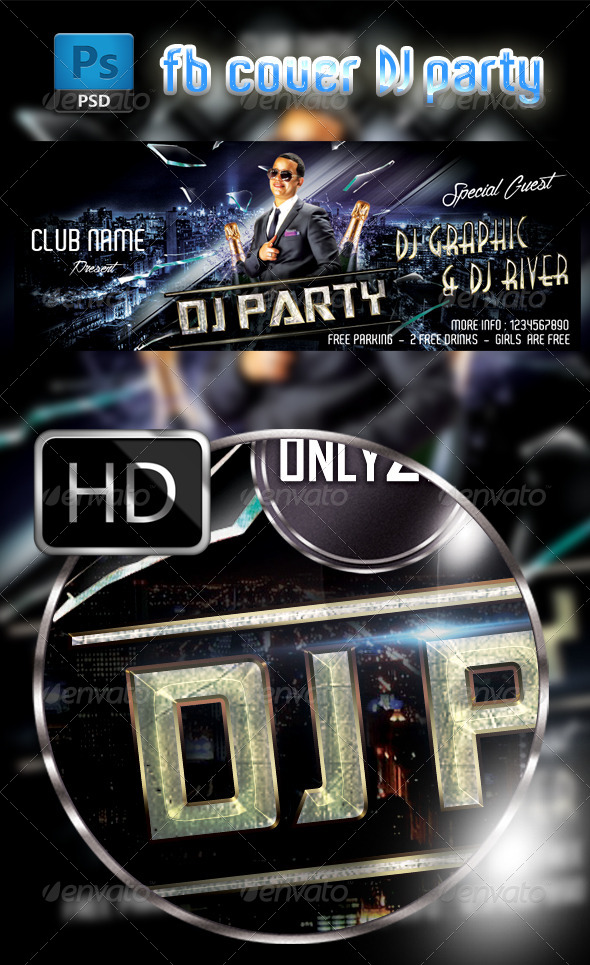 GraphicRiver DJ Party FB Cover Template 7688209