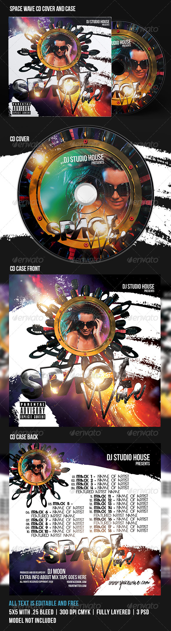 GraphicRiver Space Wave CD Cover 7688396