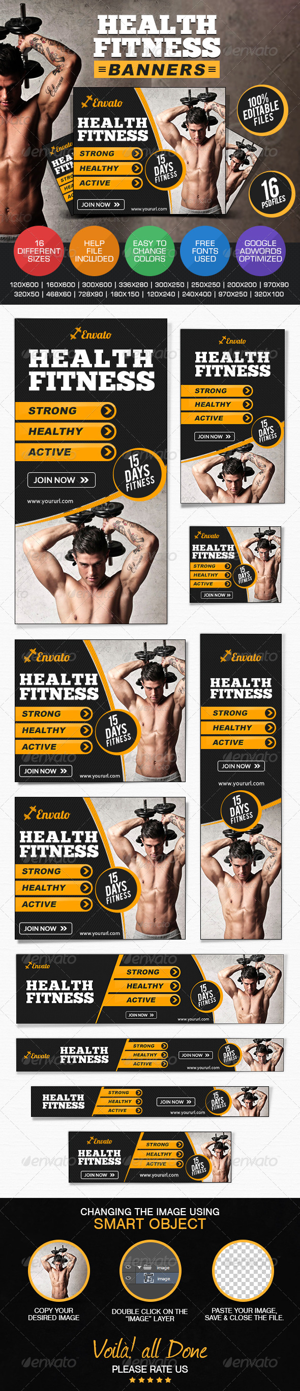 GraphicRiver Health & Fitness Banners 7688647
