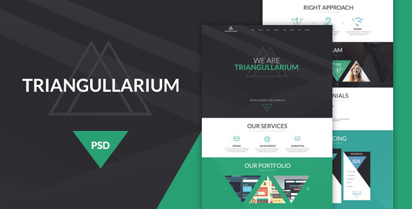 Introduction Triangullarium is a single page PSD website template designed in Photoshop CS6. Template has a universal design. Triangullarium PSD Template can be