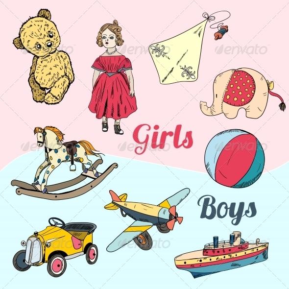 GraphicRiver Toys Sketch Icons Set 7690248