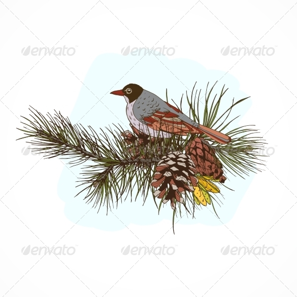 GraphicRiver Pine Branches with Bird 7690282
